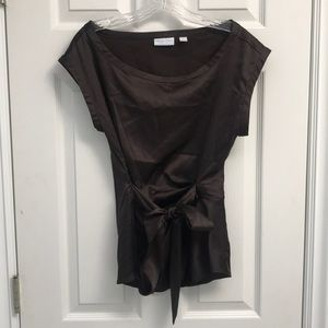 New York & company silky blouse | chocolate brown